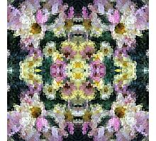 Abstract Mosaic in Yellow Pink Green Photographic Print