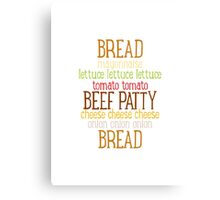 Burger Typography Canvas Print