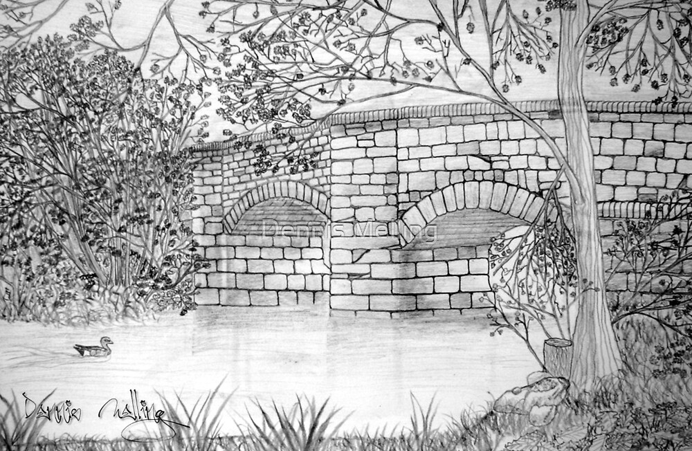 My pencil drawing of Fingle Bridge, Dartmoor - all products by Dennis Melling