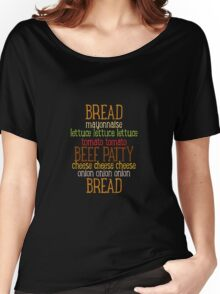 Burger Typography Women's Relaxed Fit T-Shirt