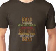 Burger Typography Unisex T-Shirt
