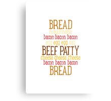 Burger Typography - Meatlover Canvas Print
