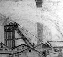 My pencil drawing of Frickley Colliery, Yorkshire 1920 - all products bar duvet Sticker