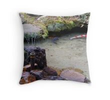 Japanese Koi River Throw Pillow