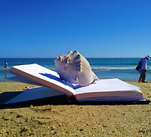 Shell On A Book At The Beach by Joey O'Connor
