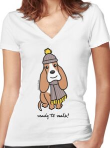 Ready To Walk! Basset Hound Women's Fitted V-Neck T-Shirt