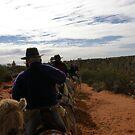 Camel Train at Dusk in Desert by oiseau