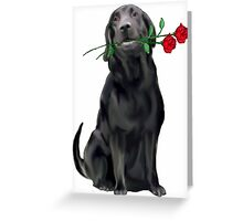 Lbrador Retriever and rose Greeting Card