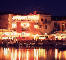 Crete, Greece. Rethymnon Harbour at night by Steve Outram