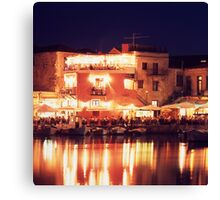 Crete, Greece. Rethymnon Harbour at night Canvas Print
