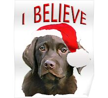 Chocolate Lab Christmas themed Poster
