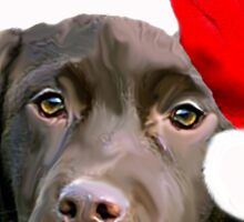 Chocolate Lab Christmas themed Sticker