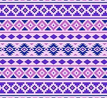 Aztec Essence Pattern II Pinks Blue Purple by NataliePaskell