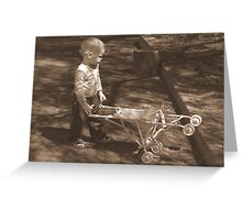 Little girl with her pram Greeting Card