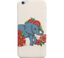 Little Blue Elephant in her secret garden iPhone Case/Skin
