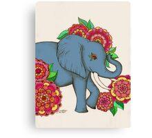 Little Blue Elephant in her secret garden Canvas Print