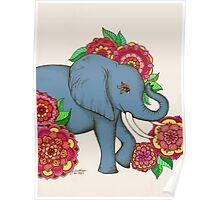 Little Blue Elephant in her secret garden Poster