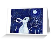 White moon gazing hare Greeting Card