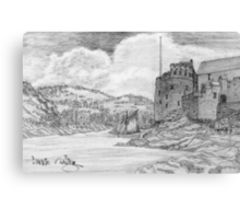 My pencil drawing of Dartmouth and Kingswear Castles, Devon Canvas Print