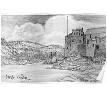 My pencil drawing of Dartmouth and Kingswear Castles, Devon Poster