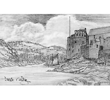 My pencil drawing of Dartmouth and Kingswear Castles, Devon Photographic Print
