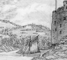 My pencil drawing of Dartmouth Castle, Devon - all products bar duvet Sticker