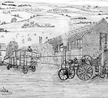 My pencil drawing of Steam Threshing in Yorkshire by Dennis Melling
