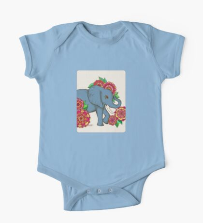 Little Blue Elephant in her secret garden One Piece - Short Sleeve