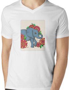 Little Blue Elephant in her secret garden Mens V-Neck T-Shirt