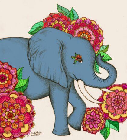 Little Blue Elephant in her secret garden Sticker