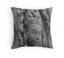 Lady in Stone at Bayon Temple, Cambodia Throw Pillow
