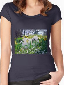 Snowdrop the Maltese & The Pretty Spring Flowers Women's Fitted Scoop T-Shirt