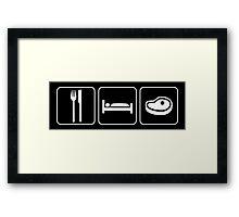 Food Sleep Steak Framed Print