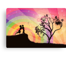 Romantic couple at sunset Canvas Print
