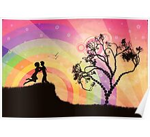 Romantic couple at sunset Poster