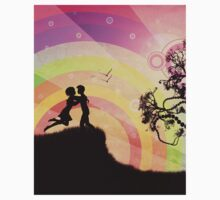 Romantic couple at sunset Kids Clothes