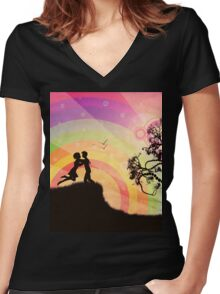Romantic couple at sunset Women's Fitted V-Neck T-Shirt