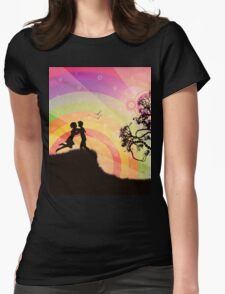 Romantic couple at sunset Womens Fitted T-Shirt
