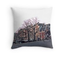 Amsterdam cyclist Throw Pillow