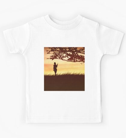Silhouette of a girl with a butterfly and tree Kids Tee