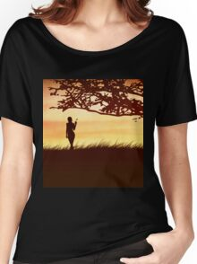Silhouette of a girl with a butterfly and tree Women's Relaxed Fit T-Shirt