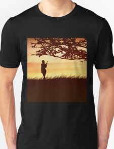 Silhouette of a girl with a butterfly and tree Unisex T-Shirt