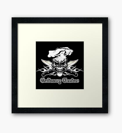 Chef Skull 1: Culinary Genius 3 White Flames Framed Print