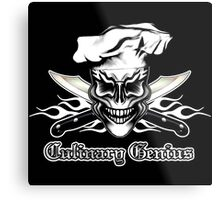 Chef Skull 1: Culinary Genius 3 White Flames Metal Print