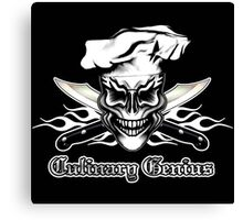 Chef Skull 1: Culinary Genius 3 White Flames Canvas Print