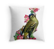 Victorian Scrapbook: Bird with Blossom Throw Pillow