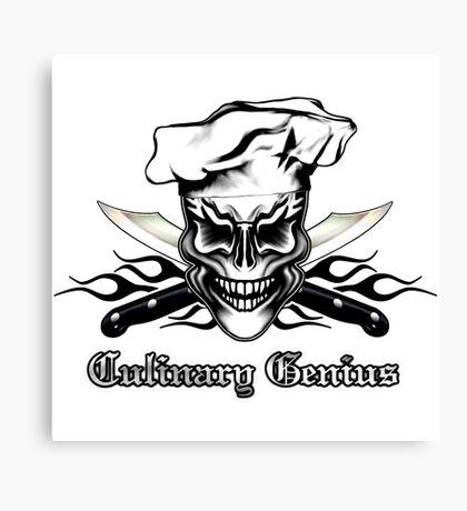 Chef Skull 1: Culinary Genius 3 Black Flames Canvas Print