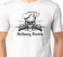 Chef Skull 1: Culinary Genius 3 Black Flames Unisex T-Shirt