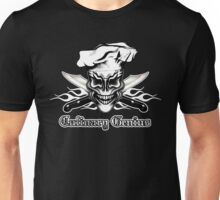 Chef Skull 1: Culinary Genius 3 White Flames Unisex T-Shirt