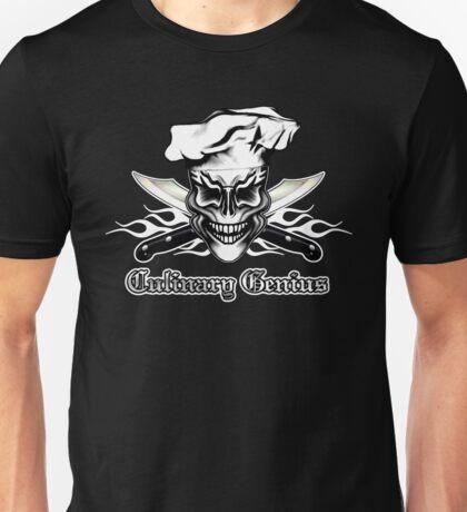 Chef Skull 1: Culinary Genius 3 White Flames Unisex T-Shirt